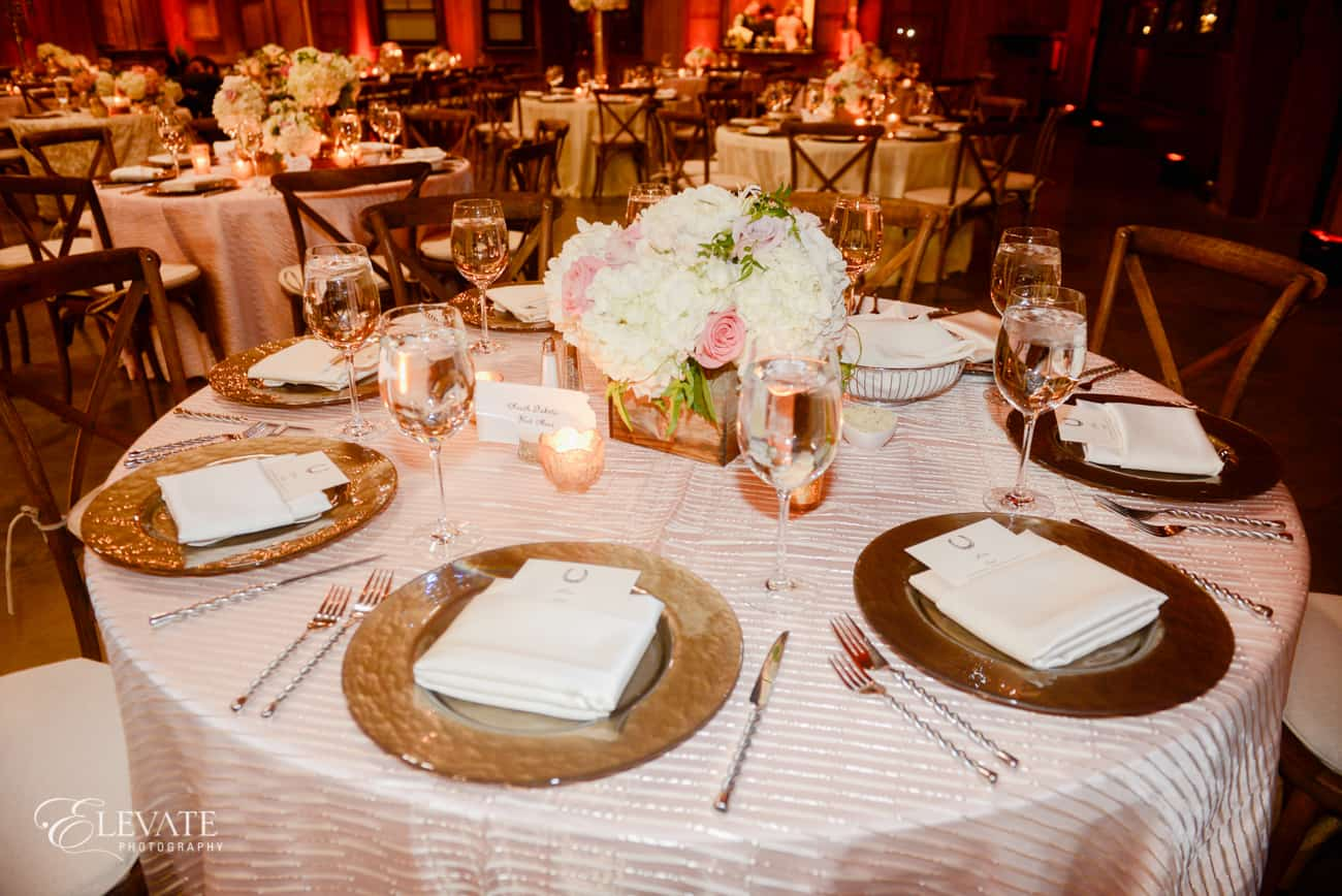blush reception table