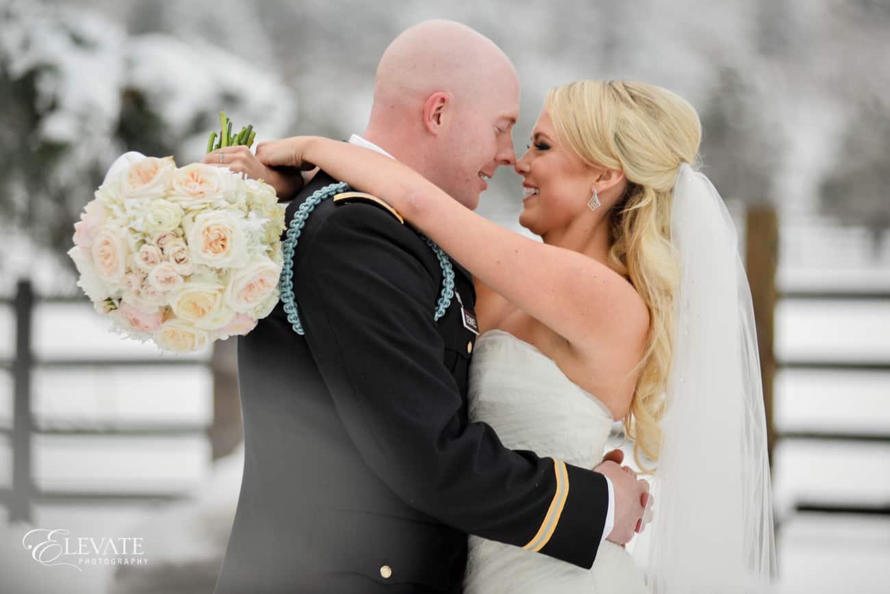 blush bridal bouqet rivini dress
