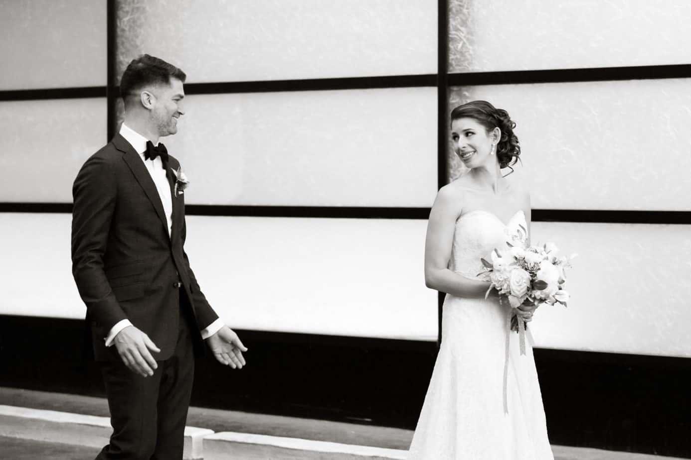 first look_downtown denver wedding