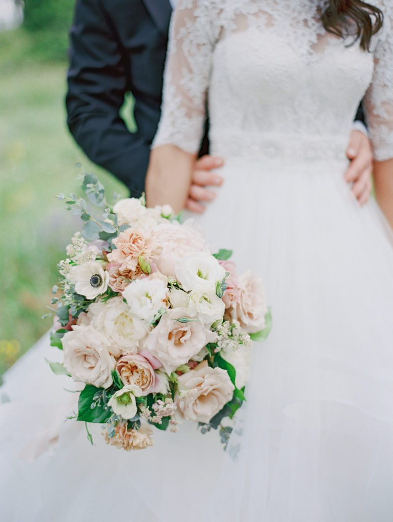 white, ivory and blush bouquet