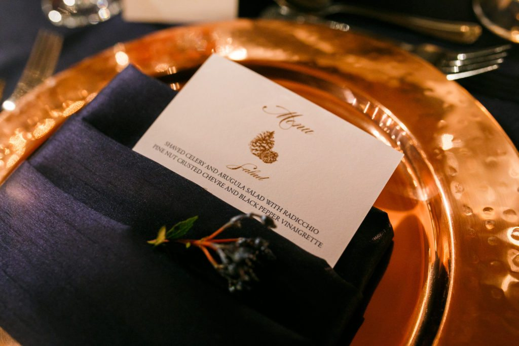 copper and navy menu