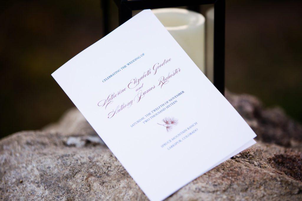 copper and navy wedding program