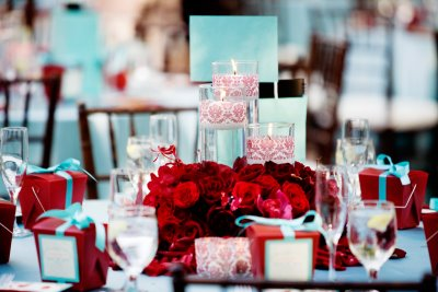 Red And Turquoise Aqua Wedding Ceremony And Reception