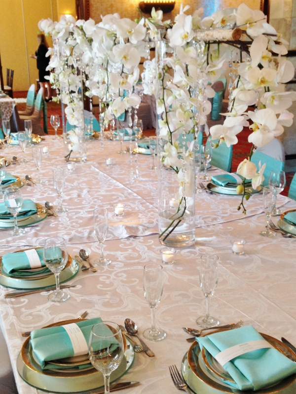 Cloud Tiffany Blue And Silver Wedding Decor Orchids