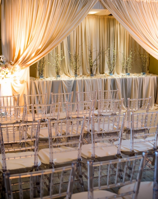 clear acne chairs with ceremony drape
