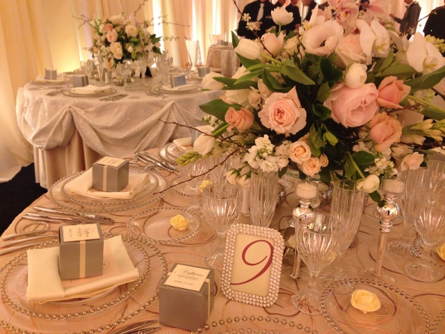 cloud 9 blush and ivory reception table