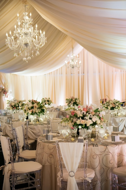 reception and tent décor with chandeliers