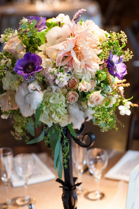 blush and purple tall wedding centerpiece