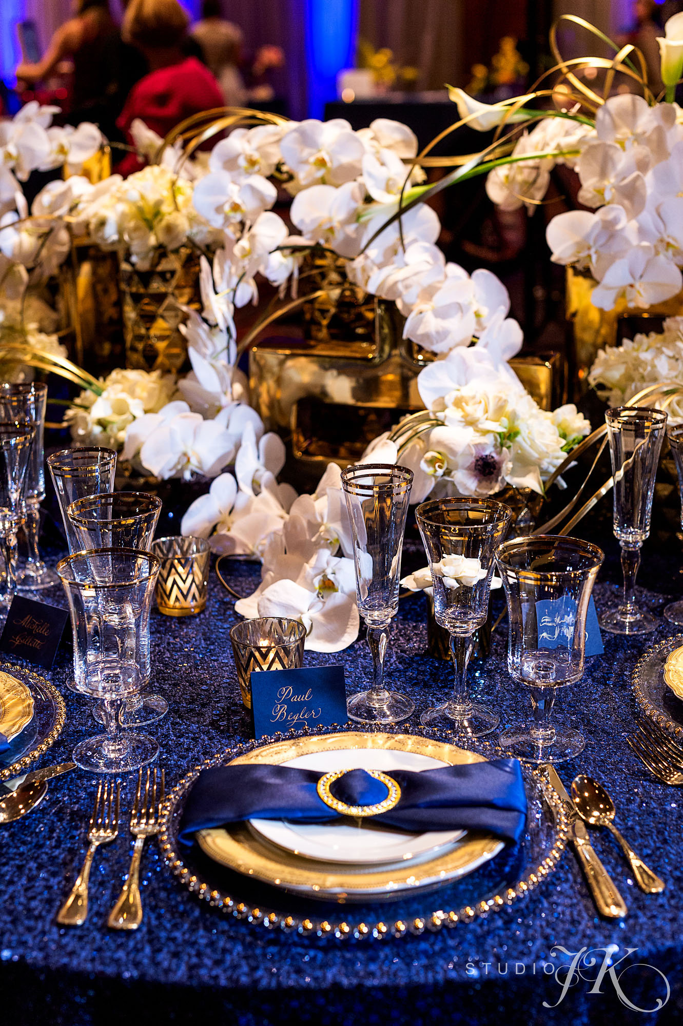 Navy and Gold Table Top with White Orchids