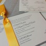 formal wedding invitation yellow and gray