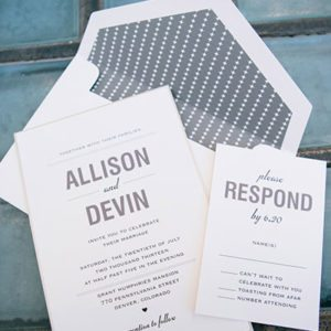 gray layered wedding invitation