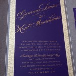 letterpress wedding invitation gold purple spark