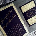wedding invitation cloud 9 letterpress spark eggplant gold