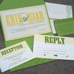 letterpress wedding invitation pocket fold suite green yellow spark