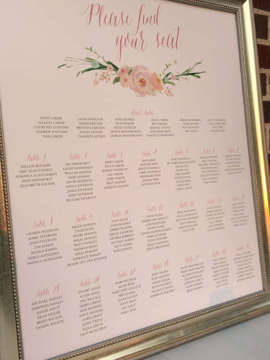Table layout escort cards