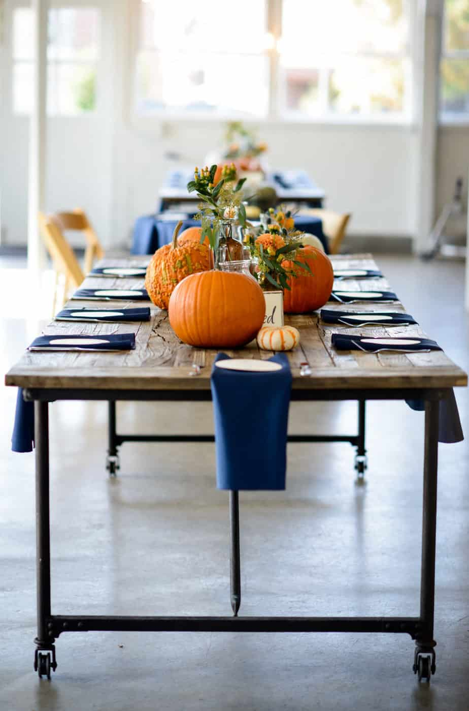 fall wedding in navy and orange