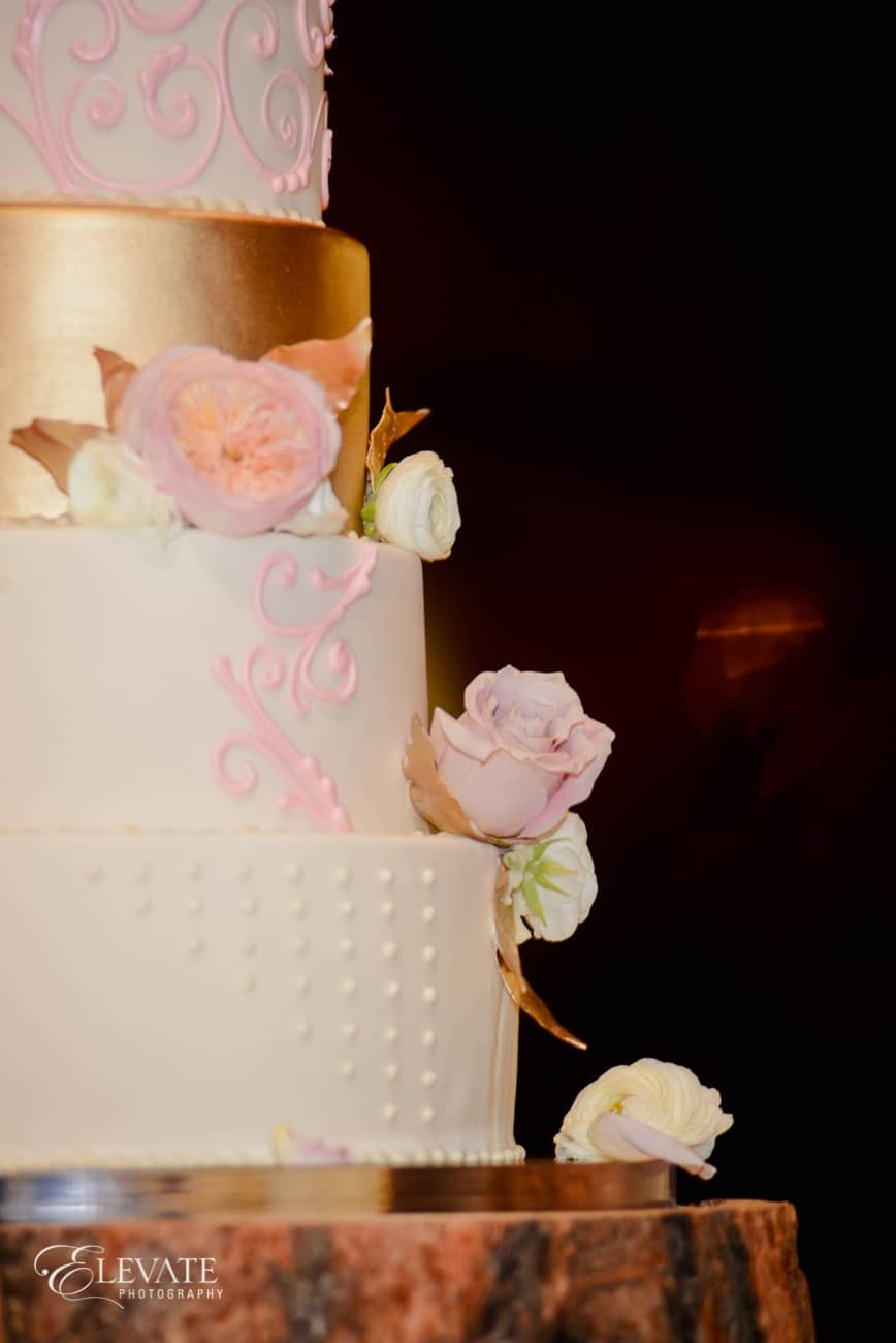 blush and gold wedding cake by gateaux