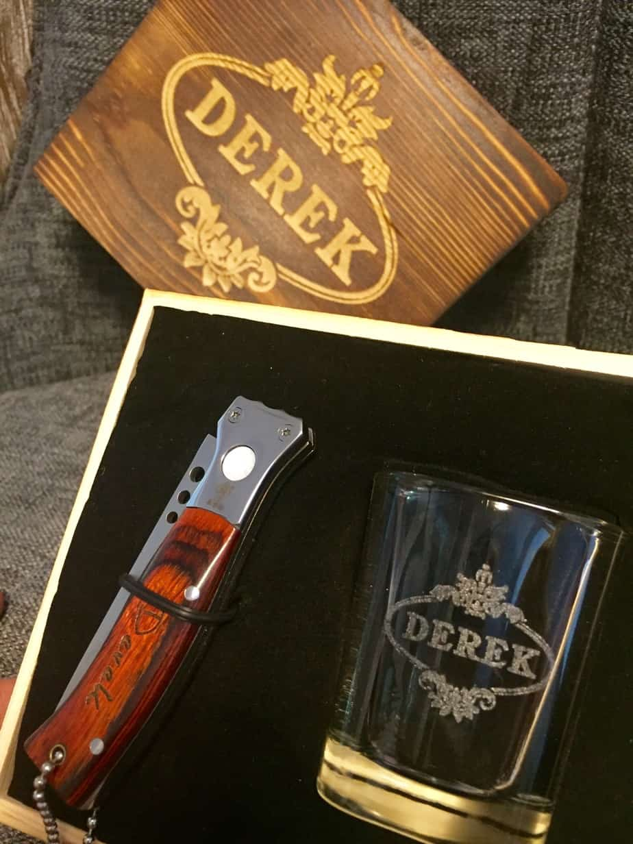 personalized groomsman gift with shot glass and pocket knife
