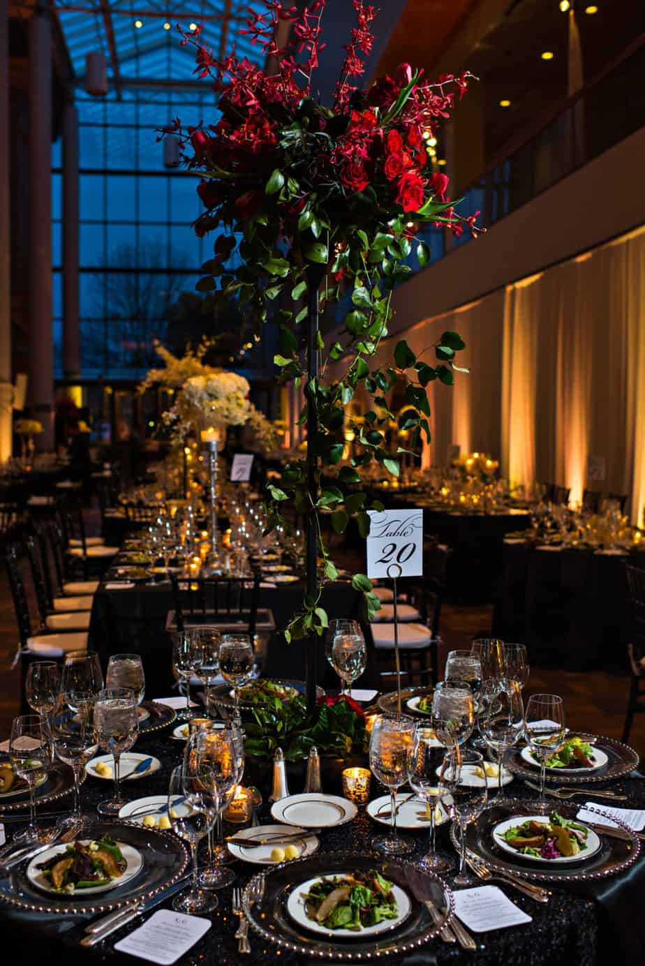 red tall centerpieces by perfect petal