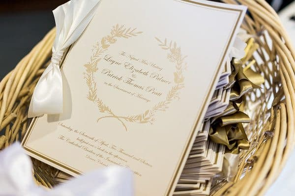 elegant_gold-and-white_wedding-programs_cloud-9_cathedral-of-immaculate-conception
