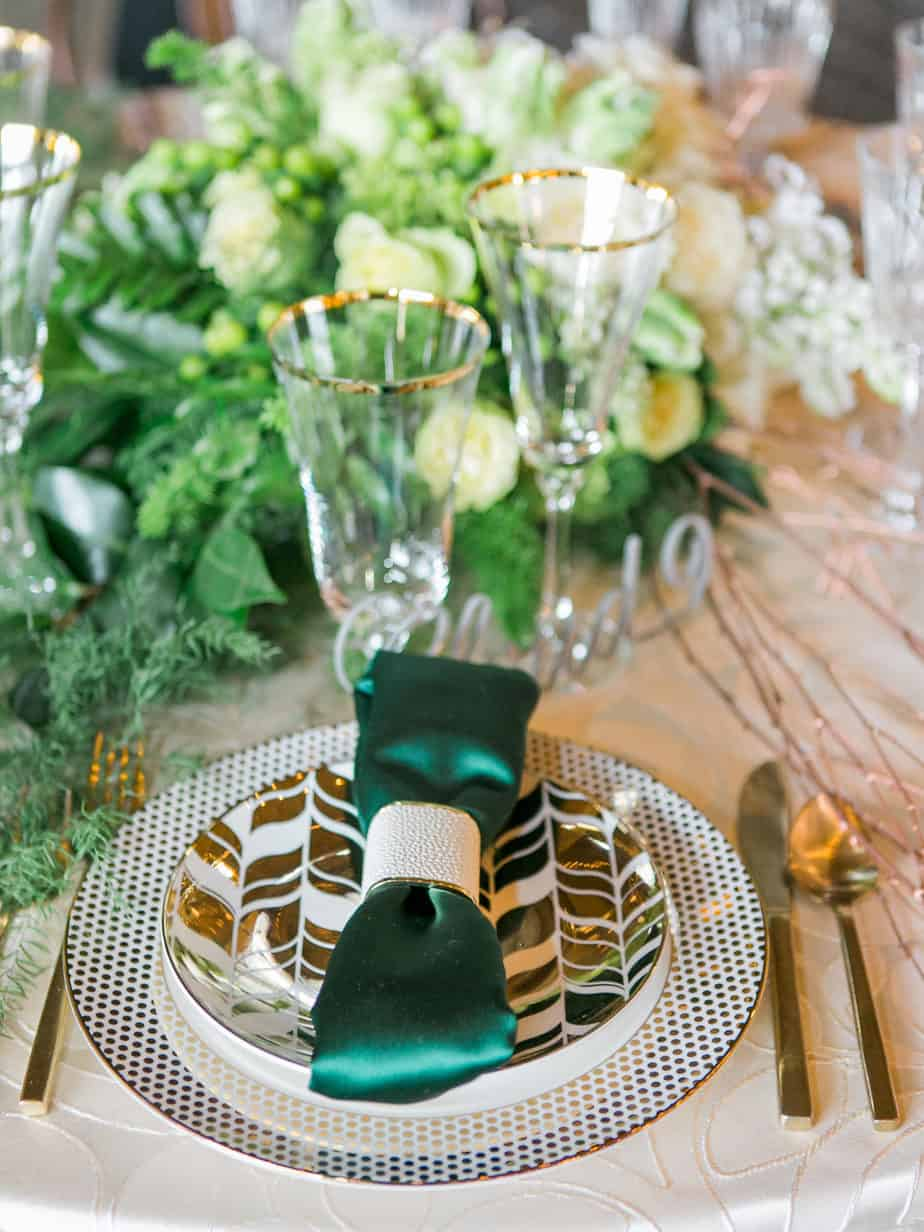 modern green and gold place setting