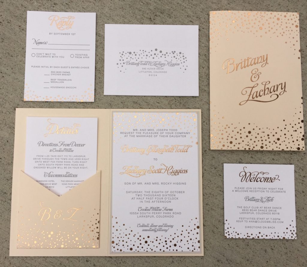 Rose gold foil, blush and gray letterpress wedding invitations