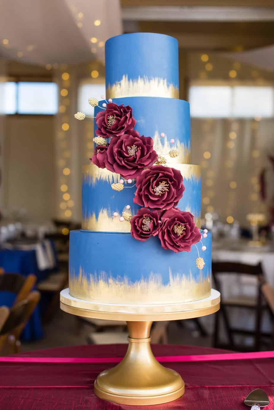 navy burgundy and gold wedding cake premiere denver wedding planner cloud 9 weddings 17783