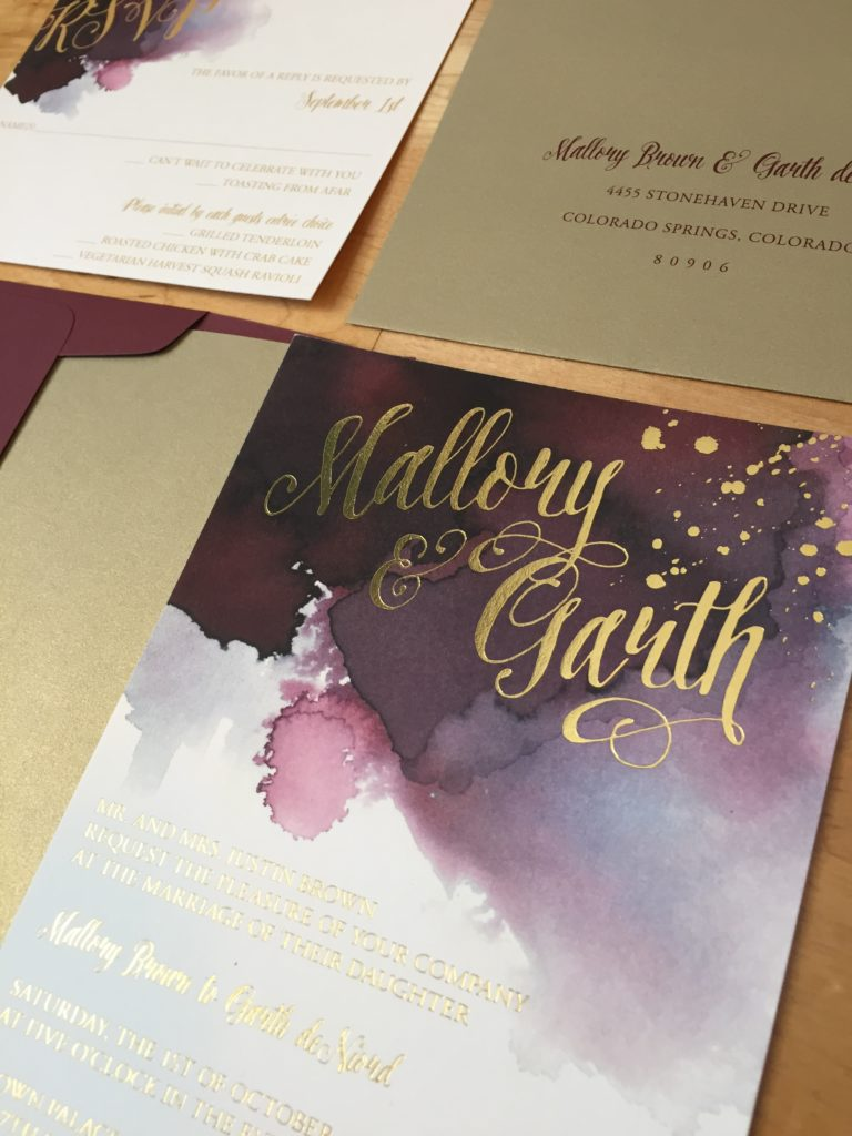Brown Palace Hotel Fall Burgundy And Gold Wedding Cloud 9 Watercolor Foil Invitation